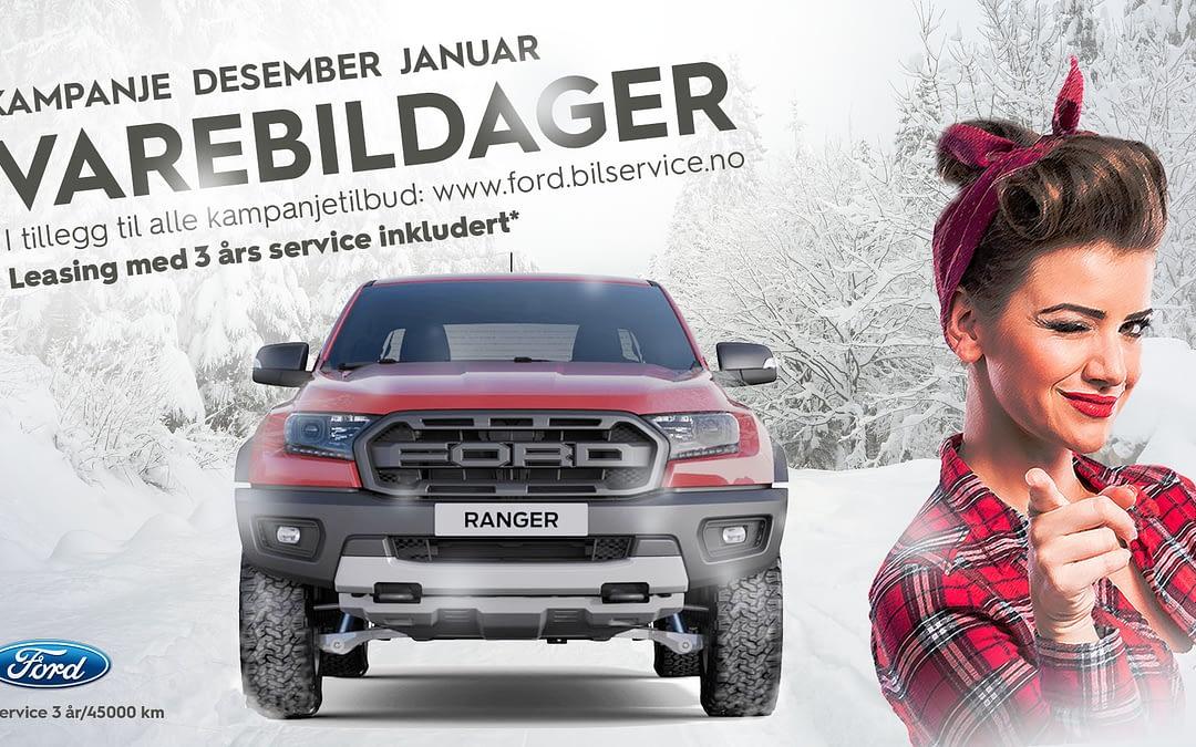 Ford varebil i snø